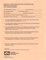 Bilingual Language Proficiency Questionnaire - English and Vietnamese (pack of 30)
