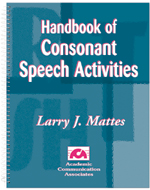 Handbook of Consonant Speech Activities - SPECIAL - SAVE $16.00